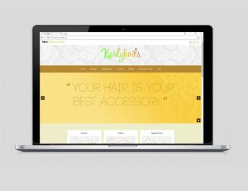 Kurlykoils website on laptop by Lori The Designer